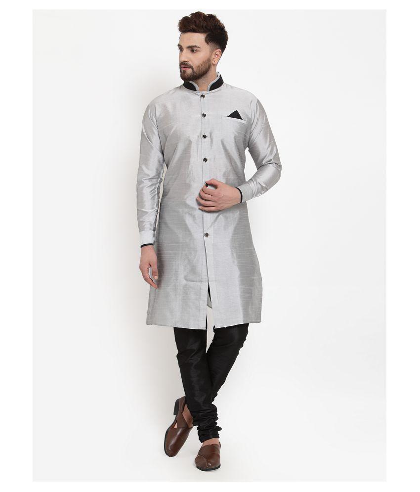 BENSTOKE Silver Silk Blend Kurta Pyjama Set Pack of 1