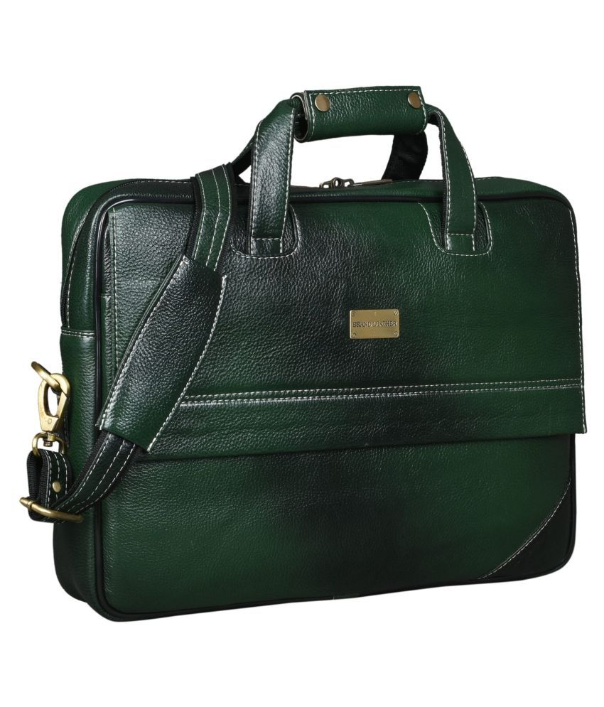 Brand Leather Green Leather Office Bag