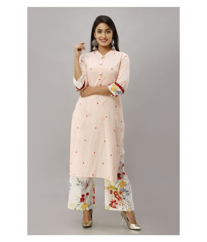 Fabric Fitoor Cotton Kurti With Palazzo   Stitched Suit