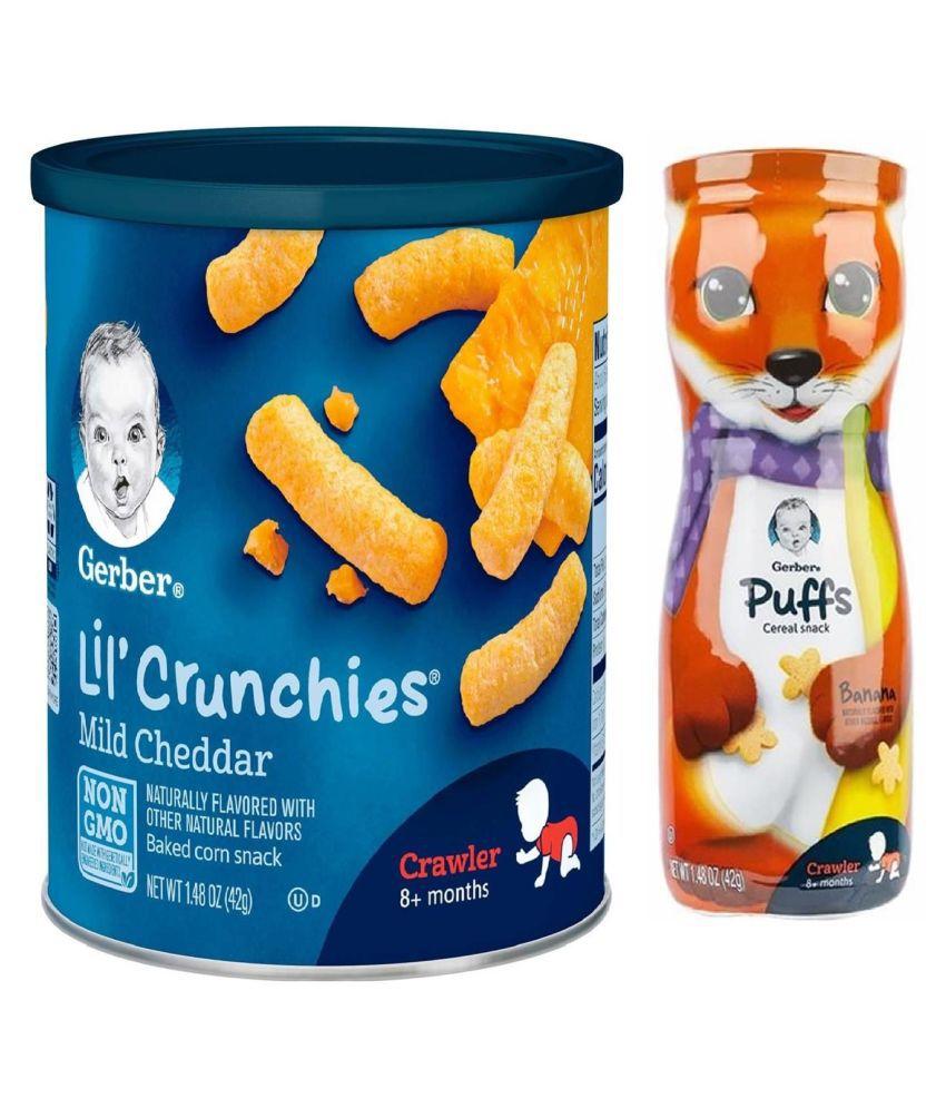 Gerber Mild Cheddar Snack Foods for 12 Months + ( 84 gm ) Pack of 2