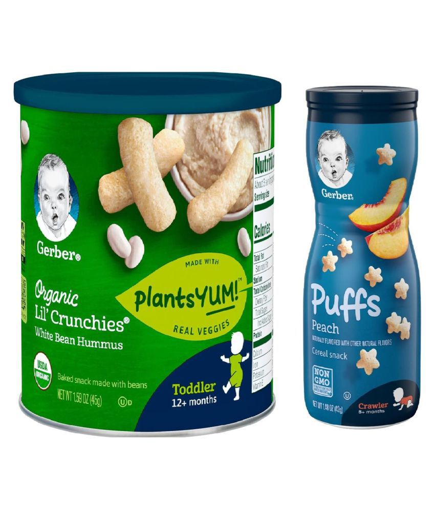Gerber White Bean Hummus Snack Foods for 12 Months + ( 84 gm ) Pack of 2