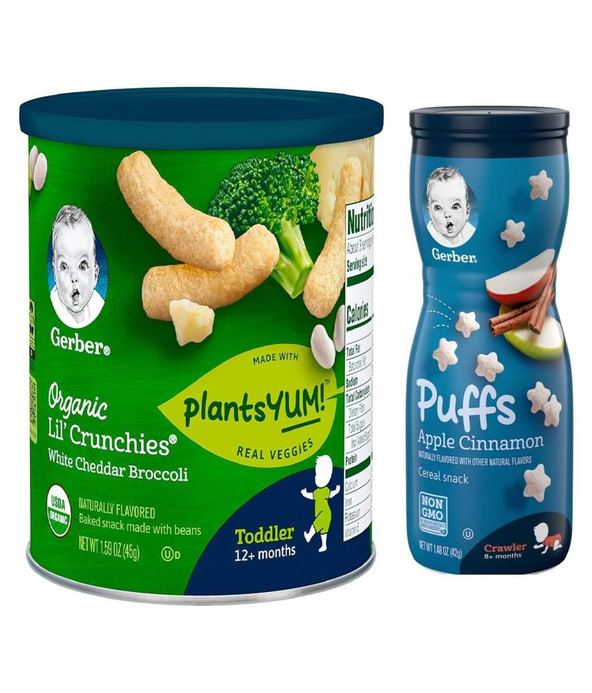 Gerber White Cheddar Brocolli Snack Foods for 12 Months + ( 84 gm ) Pack of 2