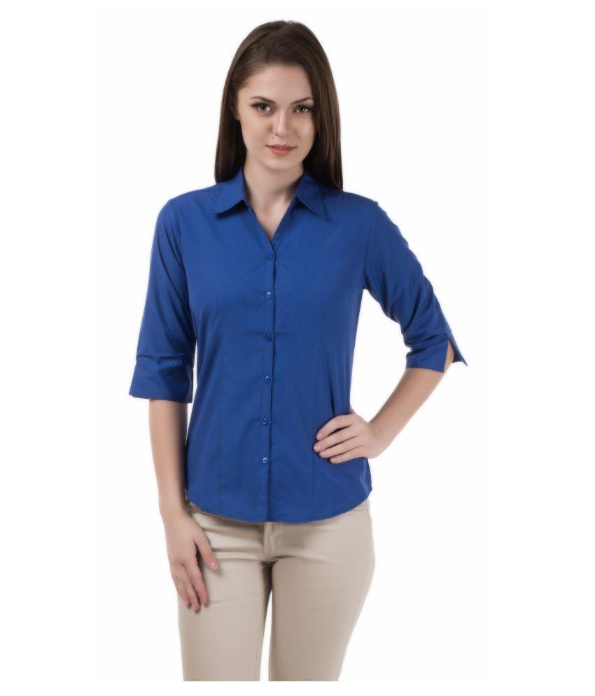 Shoppixo Blue Poly Cotton Shirt