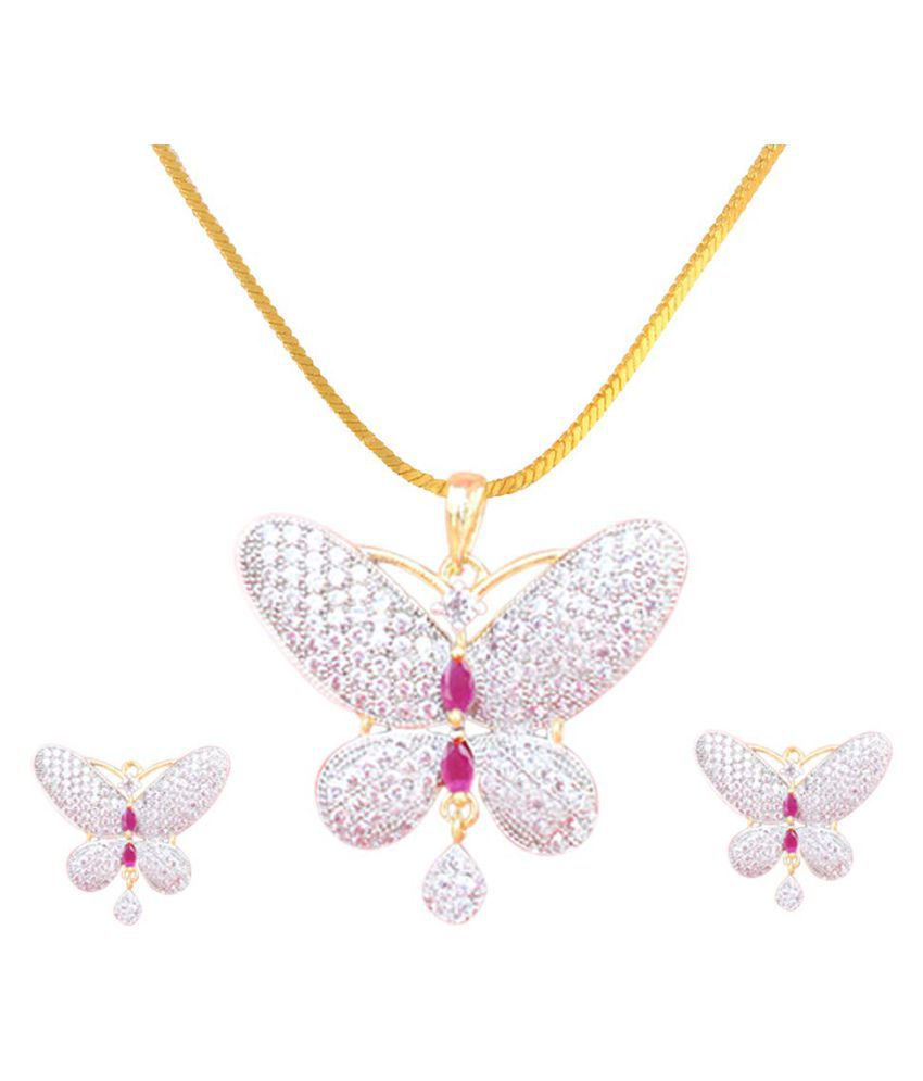 Sunhari Jewels AD Butterfly Pendant set for Girls and Womens