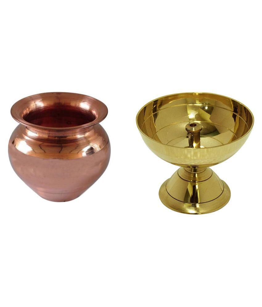 Uniqon Combo Of Classic Round Pure Brass Paro Pyali Table Diya With Copper ( 2 No ) Kalash Lota for Festival Puja