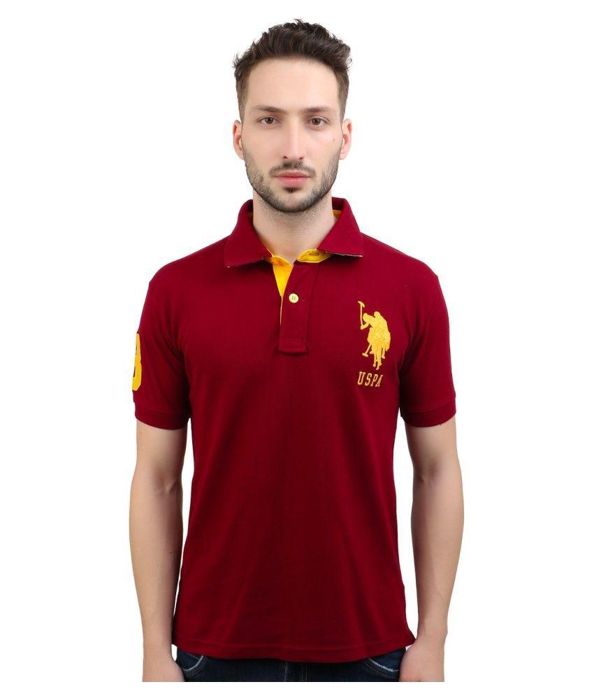 U.S.Polo Assn. 100 Percent Cotton Maroon Solids T-Shirt