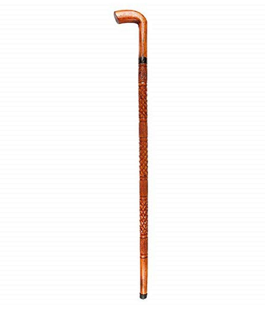 NawabSaheb Dark ORANGE RIFLE BUTT style Wood Walking Sticks