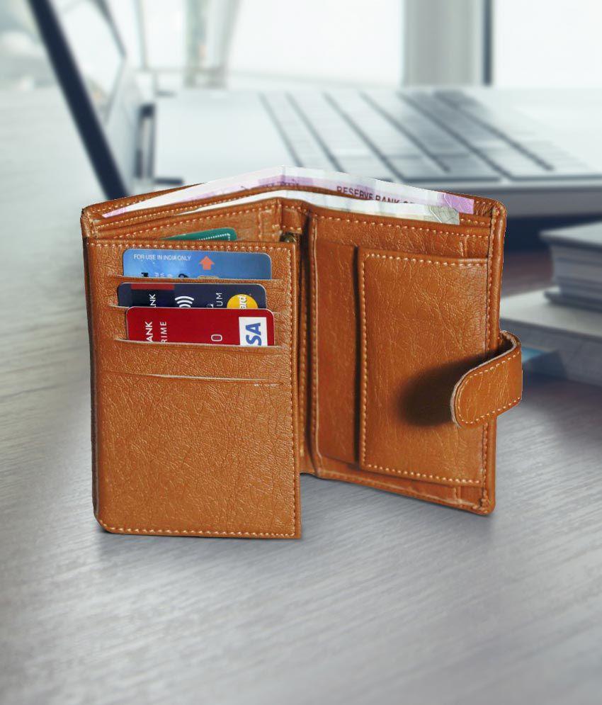 Yuva Faux Leather Tan Casual Long Wallet