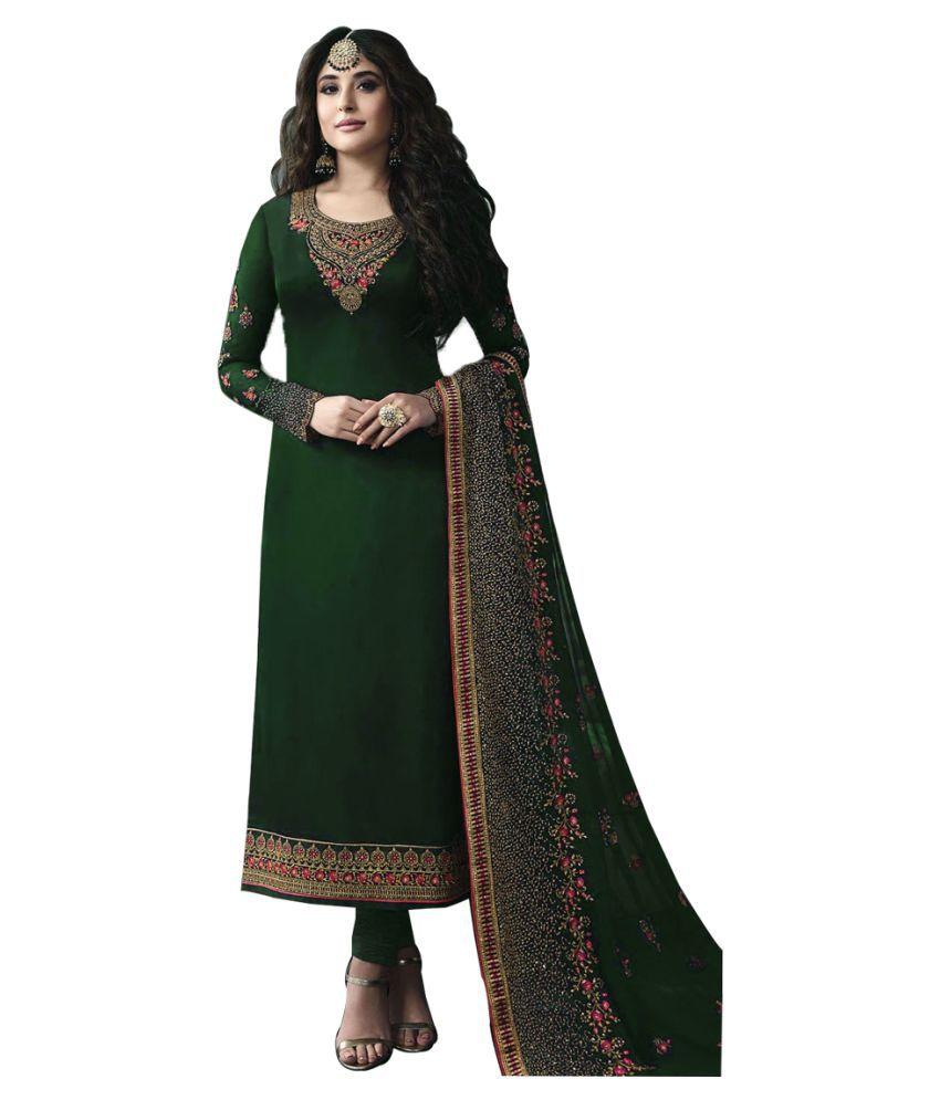 JOGMAYA FASHION Green Georgette Gown