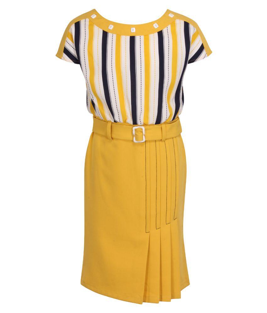 Partywear Strip Printed Cap Sleeves Dress