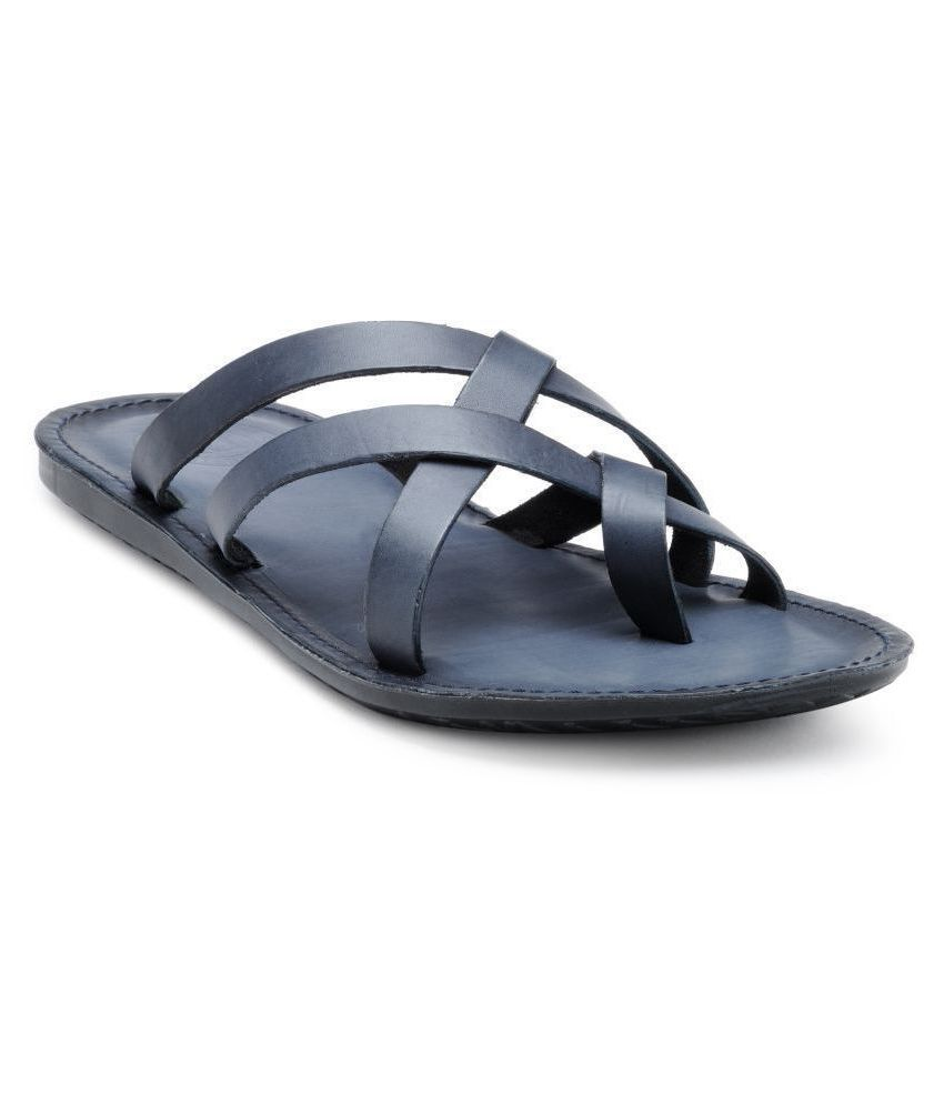 Franco Leone Blue Leather Slippers