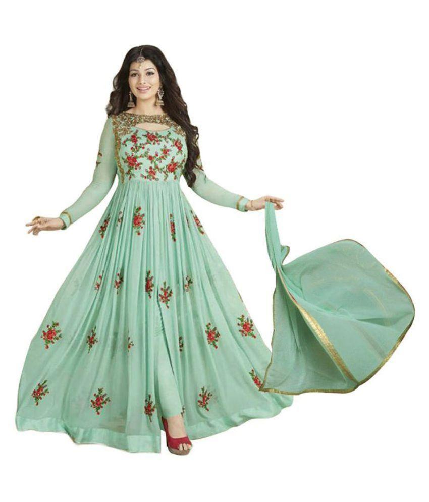 JOGMAYA FASHION Green Georgette Ethnic Gown