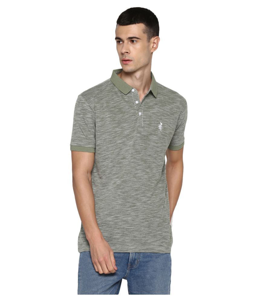 Red Tape Polyester Green Plain Polo T Shirt