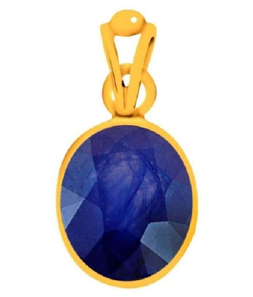 7.25 Carat Blue Sapphire Pendant Natural Original Certified Neelam Unheated Untreated Precious Stone A++ Quality Gold Plated Pendant September Birthstone for Men and Women