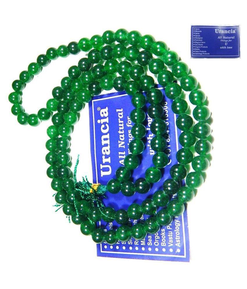 Urancia® Green Gemstone Jade Hara Gem stone Hakik Agate Japa Beads Mala Rosary 1Pcs
