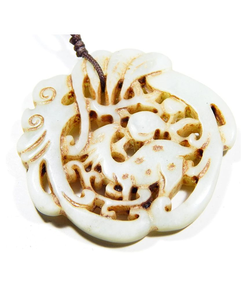 Urancia® Rare White Carved Jade Pendant For Vaastu & feng shui