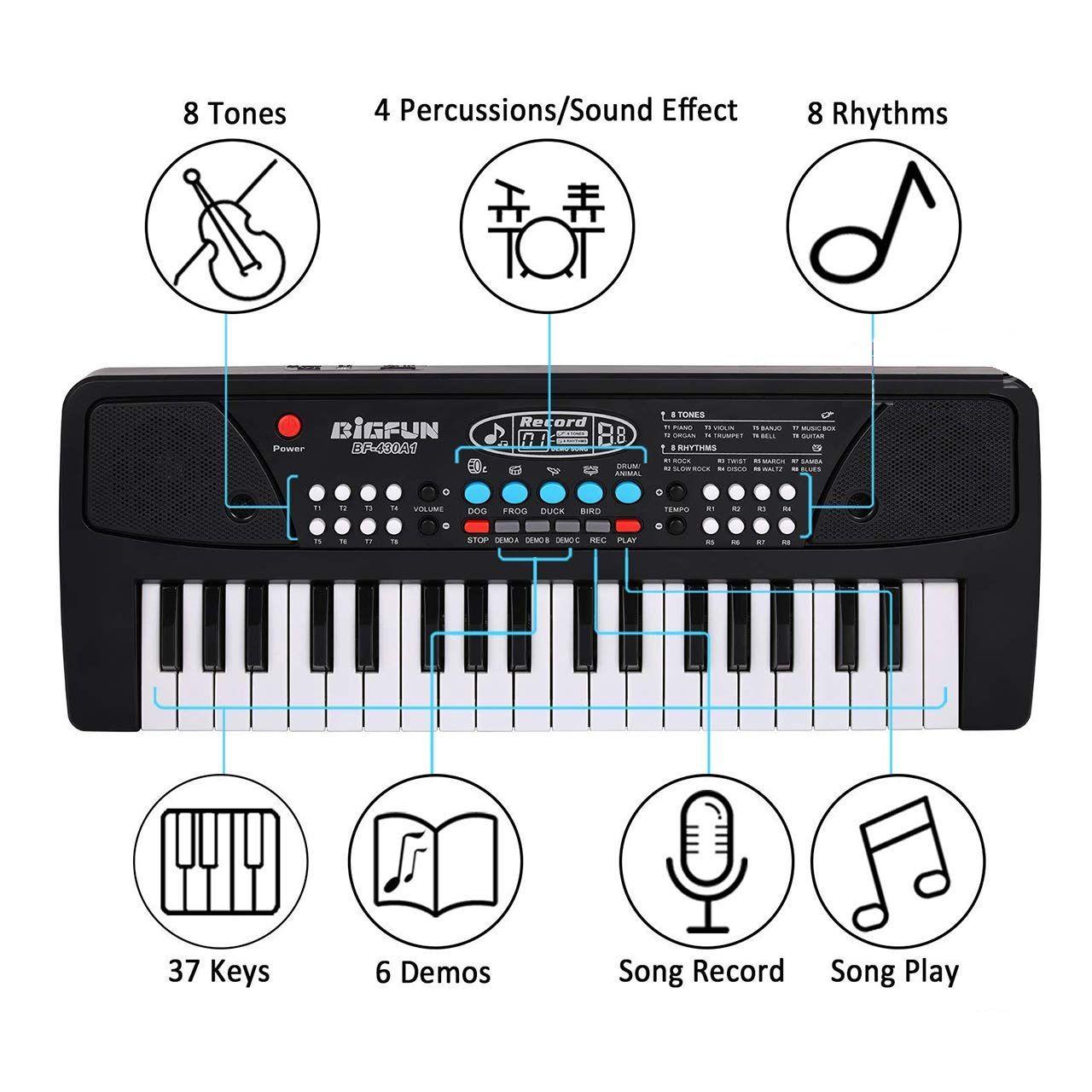 Adimac Bigfun Electronic 37 Keys Toy Keyboard Piano with Microphone