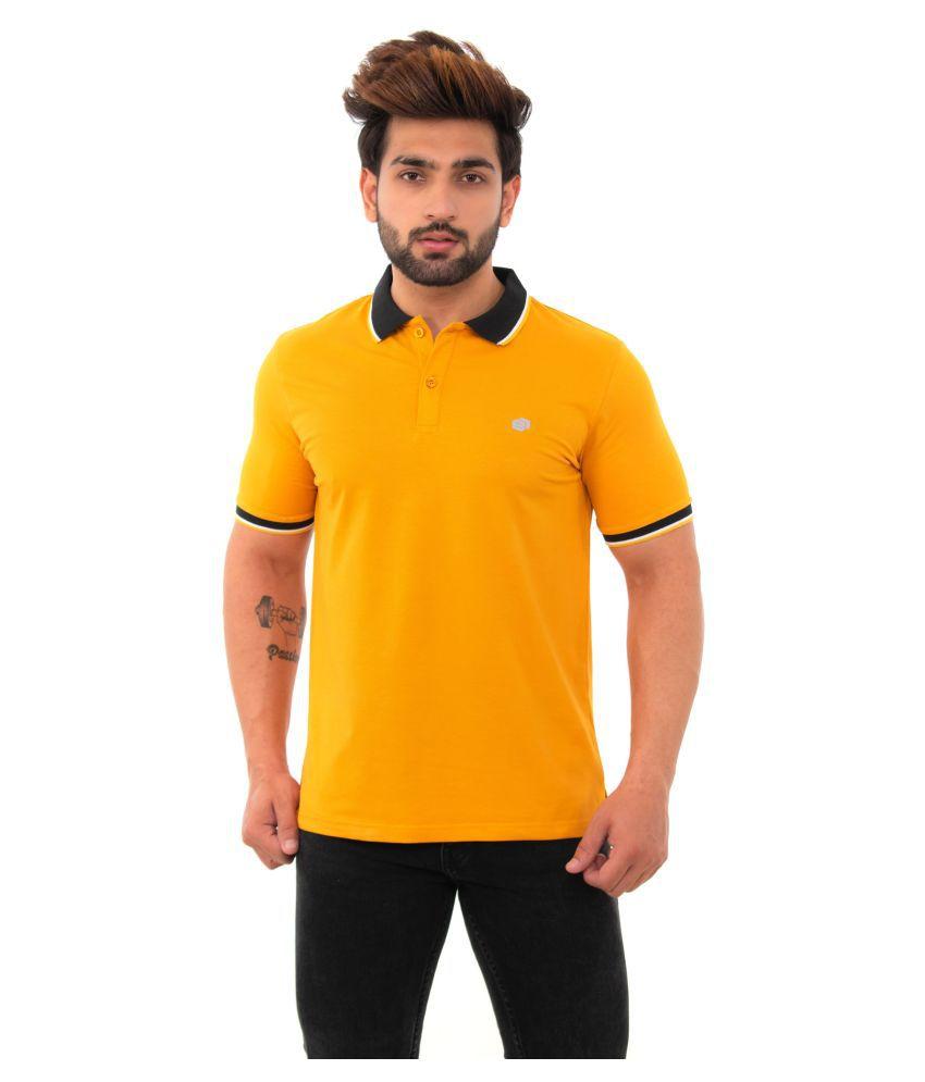 BISHOPCOTTON Cotton Lycra Yellow Plain Polo T Shirt