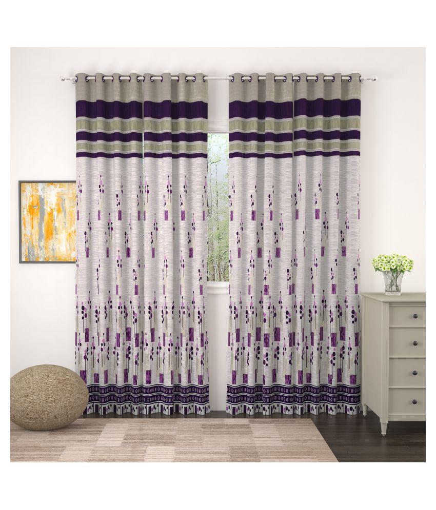 Story@Home Set of 4 Door Blackout Room Darkening Eyelet Jute Curtains Purple