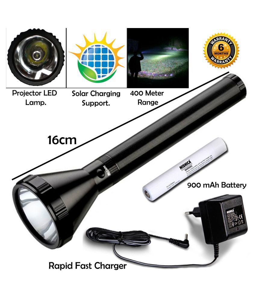 Q 400 Meter Long Beam Metal Chargeable Waterproof LED Searchlight Outdoor Lamp 12W Flashlight Torch Emergency Light - Pack of 1