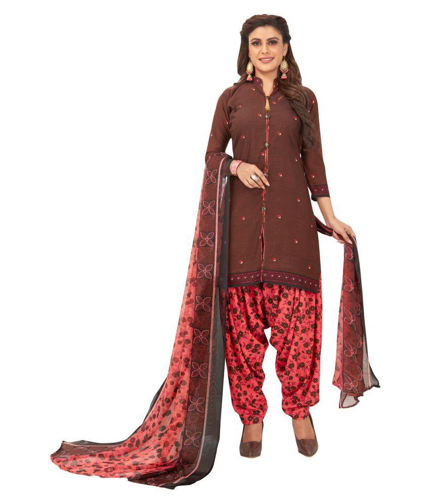 Salwar Studio Brown Synthetic Dress Material