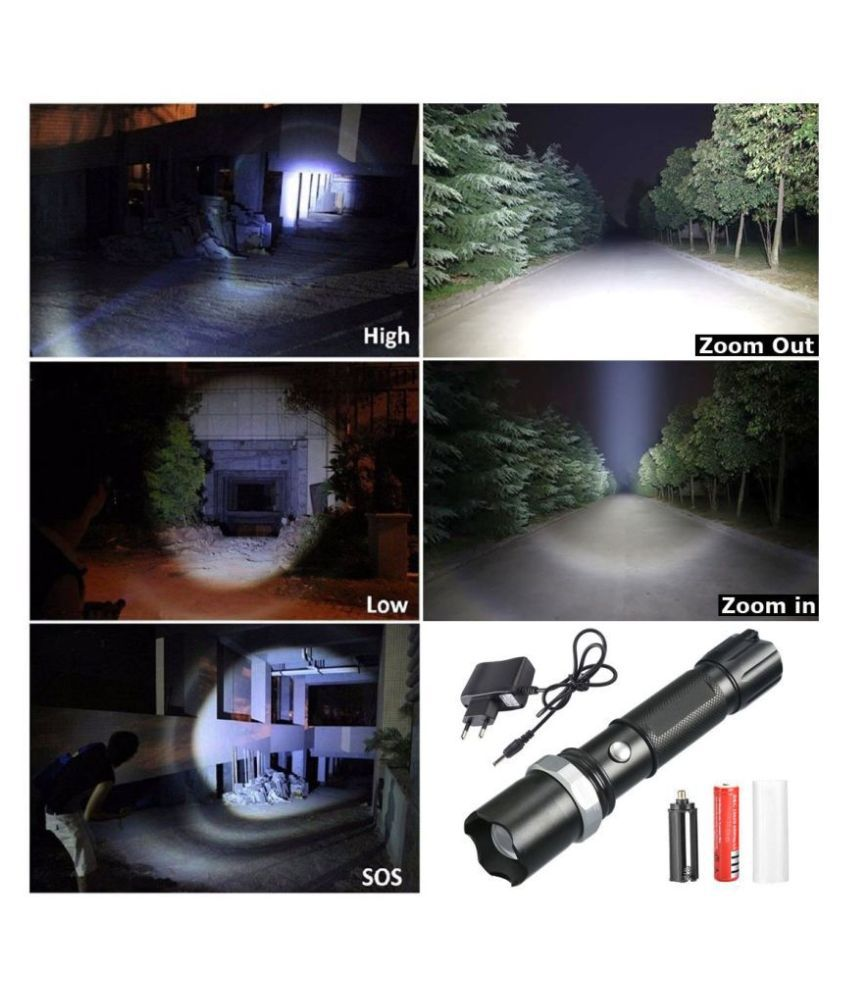 Jm 5W Flashlight Torch 400 Meter Zoomable  - Pack of 1