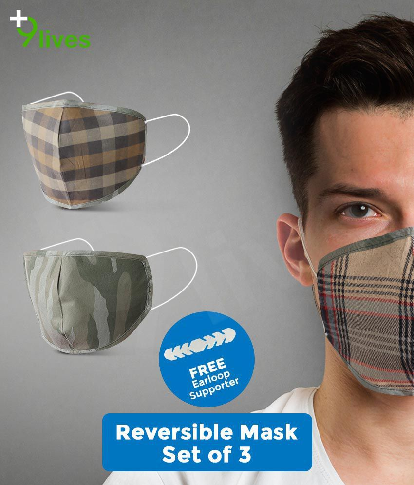 9lives 6 Layer Protection Comfortable Cotton Mask with FREE Ear-loop Supporter- (Reusable, Pack of 3)