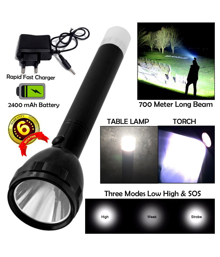 GLOBAL ART 2in1 KG 700M Range Long Beam 3 Mode Waterproof Chargeable LED 50W Flashlight Torch Emergency Table Lamp - Pack of 1
