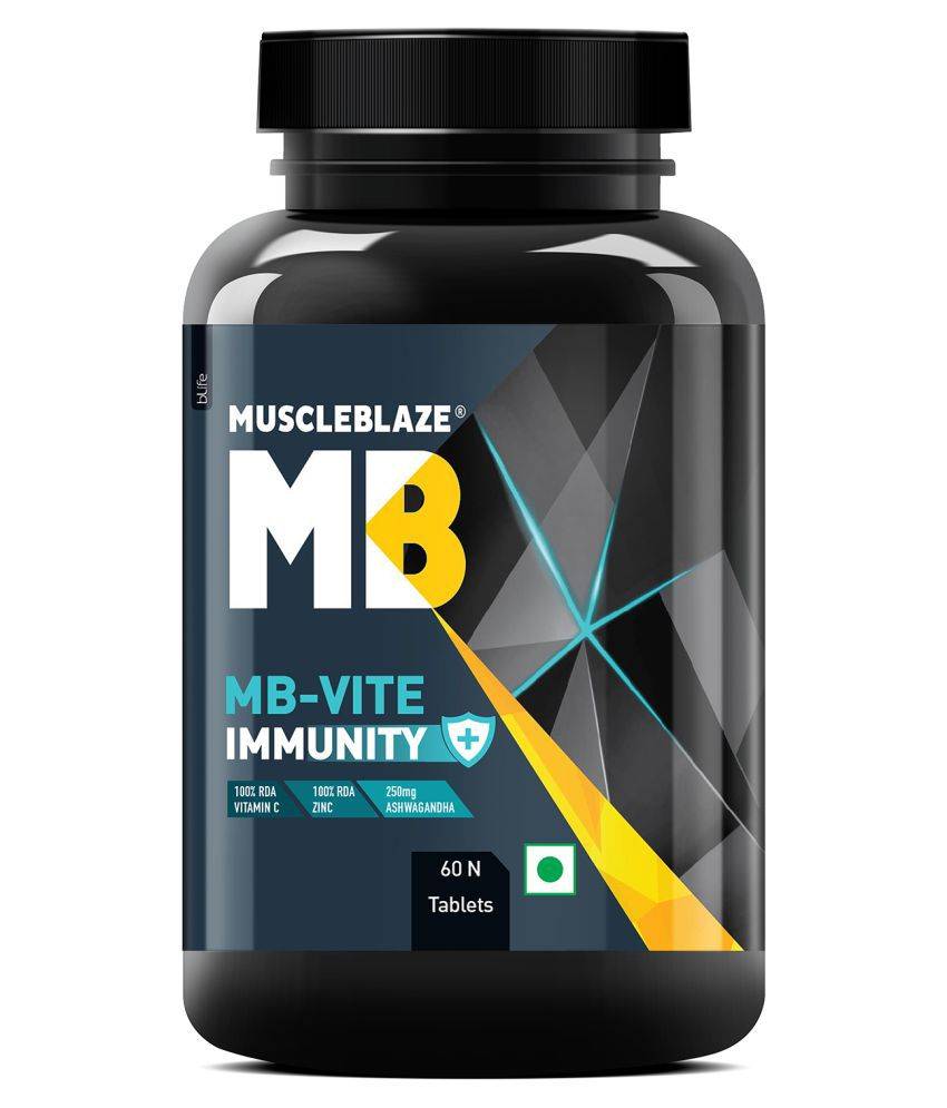 MuscleBlaze MB-Vite Immunity, Multivitamin and Minerals with Herbal Immunity Blend, Daily Health and Bodybuilding, 60 Tablets