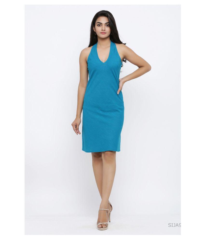 Akiko Cotton Blue A- line Dress
