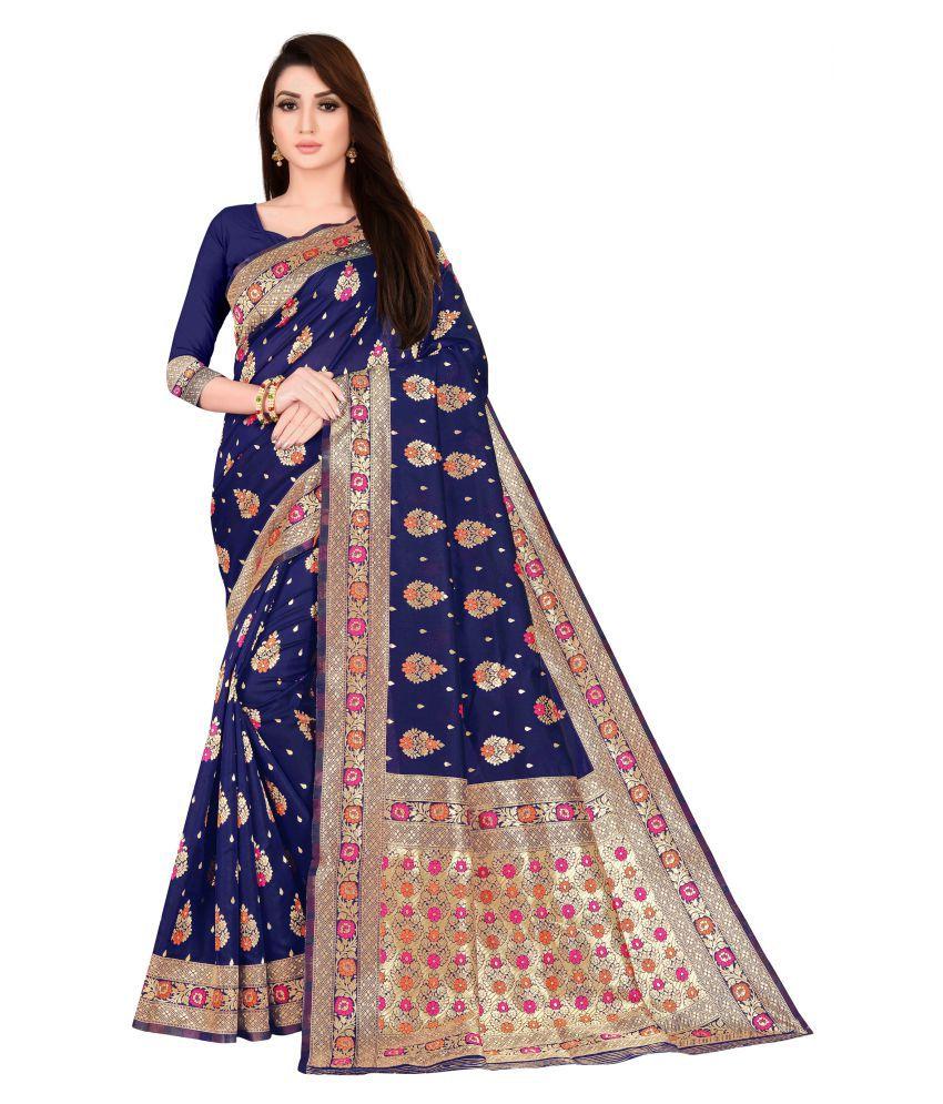 Asmita Atul Pansuriya Blue Banarasi Silk Saree