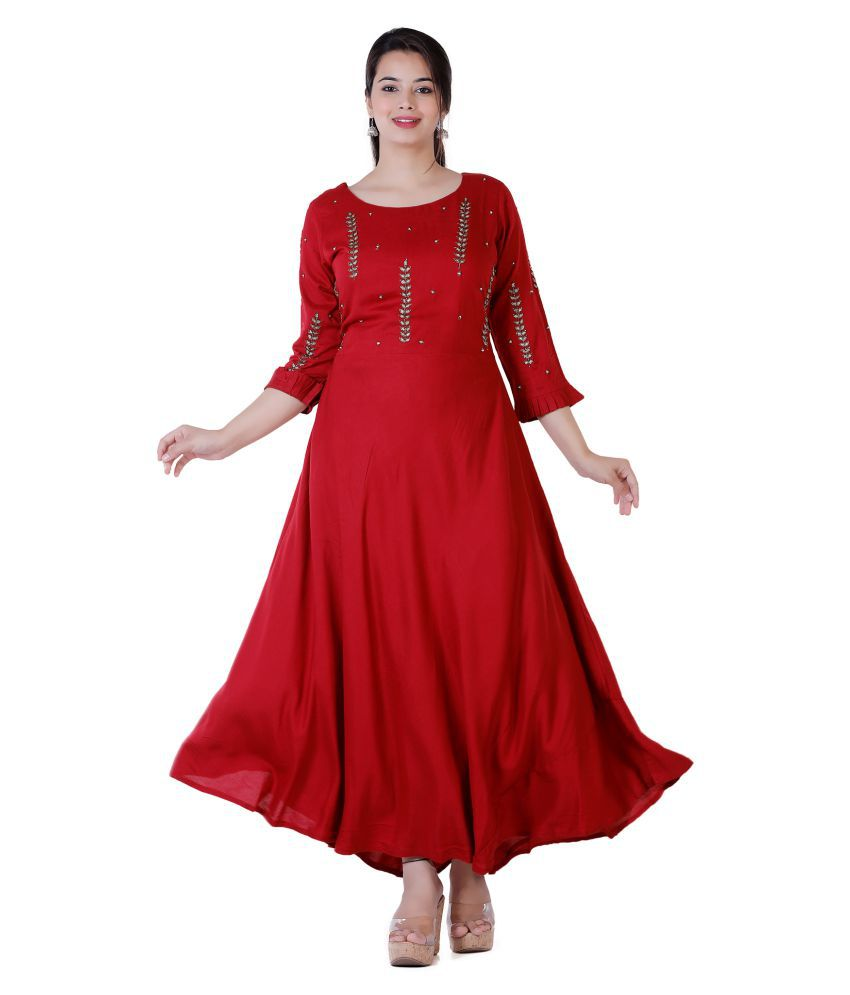 HIGHLIGHT FASHION EXPORT Rayon Red Fit And Flare Dress