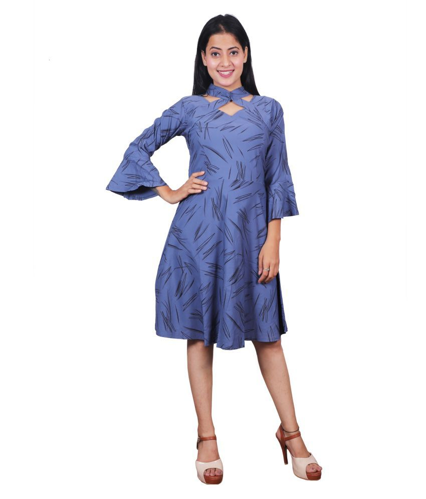 Miss N World Poly Crepe blue Fit And Flare Dress