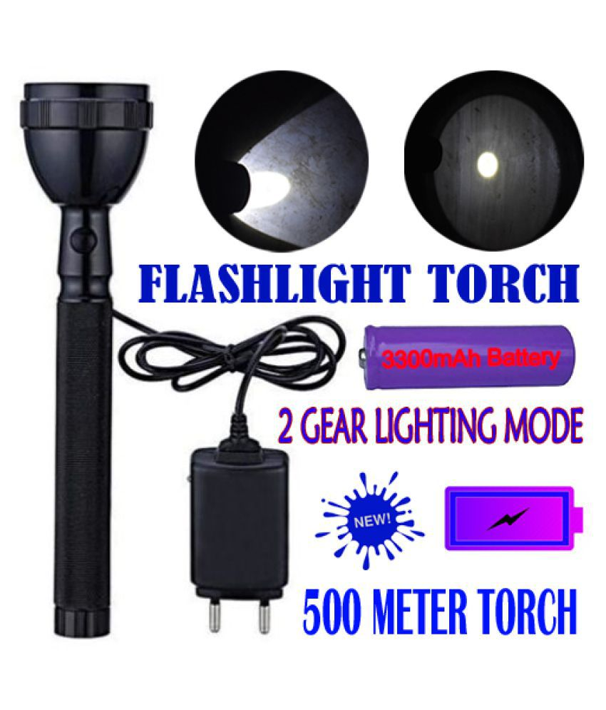 TM 2W High Power Rechargeable Torchlight Full Metal searchlight outdoor 2W Flashlight Torch 2 Mode 500 Meter - Pack of 1