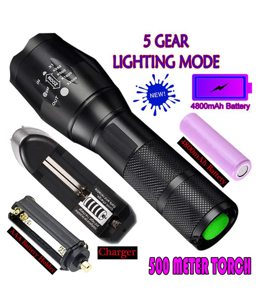 TM Zoomable 5 Mode Rechargeable 500 Meter Torchlight 4800mAh Battery 24W Flashlight Torch Waterproof Torch - Pack of 1