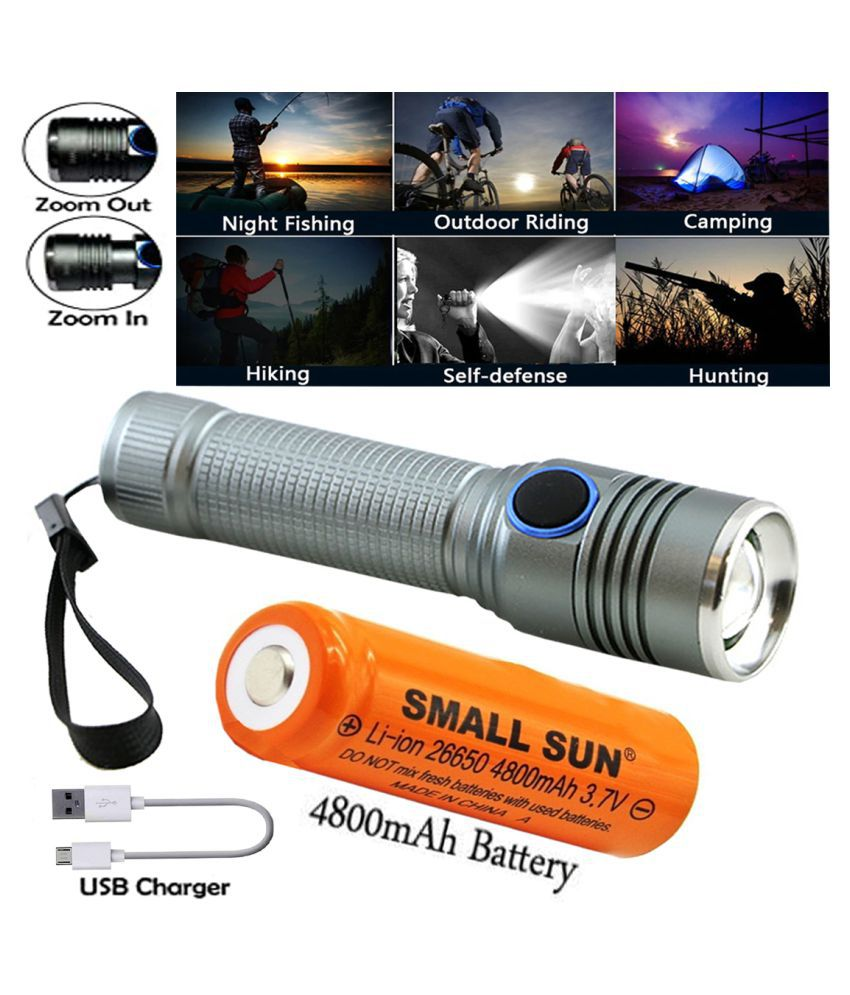 UC ZOOMABLE Flashlight and Rechargeable with USB Cable 9w Torch 9W Flashlight Torch - Pack of 1