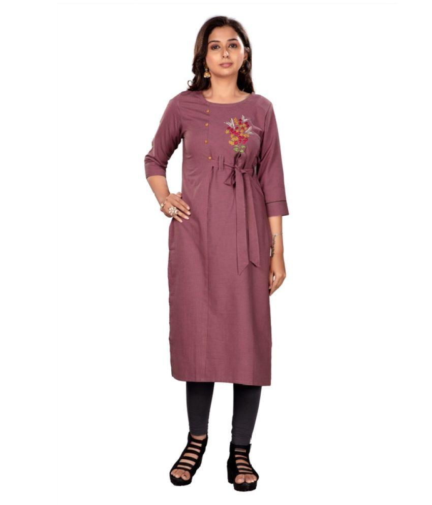 Ashmi Creation Purple Cotton Straight Kurti