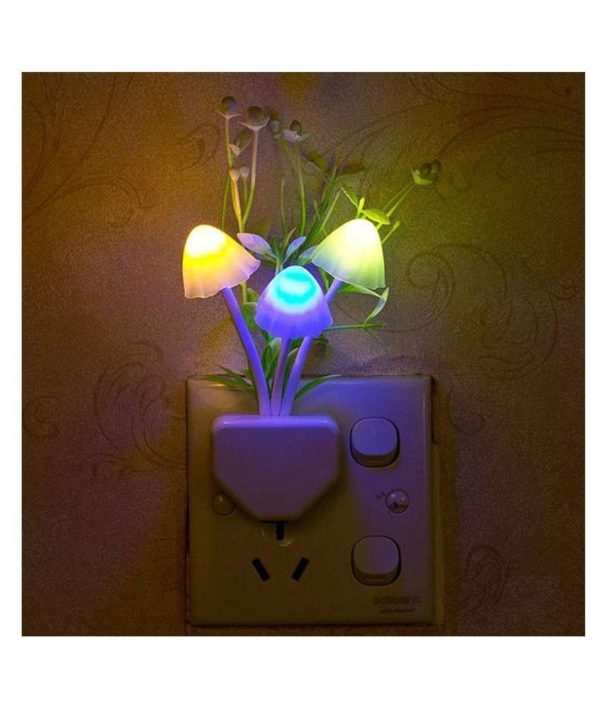 Buzz LED Night Lamp with Plug Smart Sensor auto On/Off Bulbs Decoration Mushroom Lamp Night Lamp Multi - Pack of 1