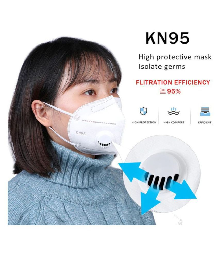 KN95 Mask With Tie Pack of 2/Face Mask/Safety Mask/Anti-Infectant Mask/Anti-Pollution Mask/Anti-Virus Mask/Five Layered Face Mask