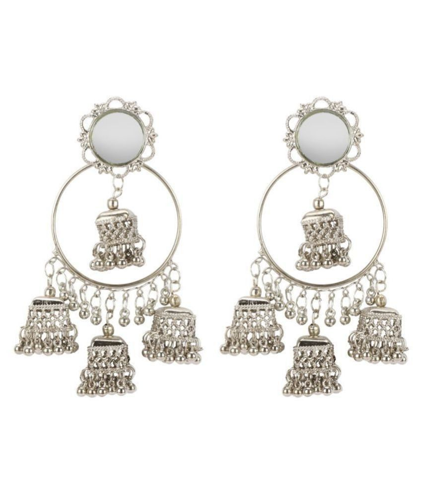aliza collection's Germen slver oxidised earing silver with jhumki for girls and women