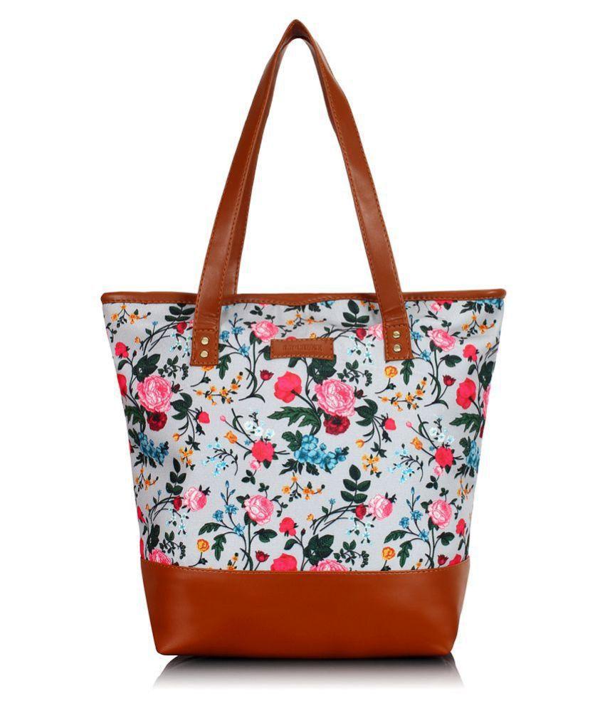 Lychee Bags Tan Canvas Tote Bag