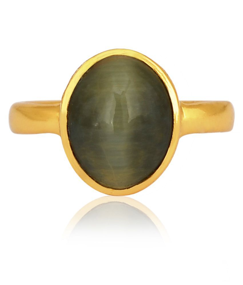 Natural Certified Cat's Eye 7.3 Ratti Gold Plated Green Lehsunia Gemstone Solid Brass Ratanwale Ring