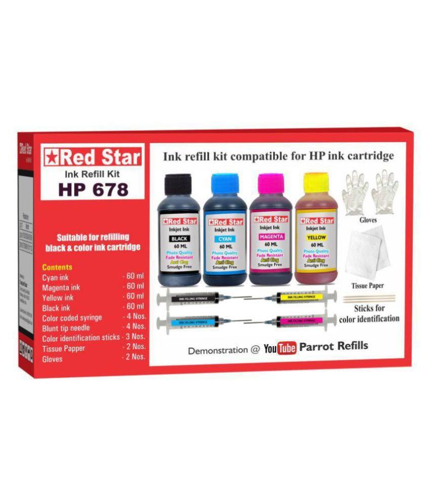 RED STAR INK REFILL KIT Multicolor Four bottles Refill Kit for HP 678 black  amp; color ink cartridge