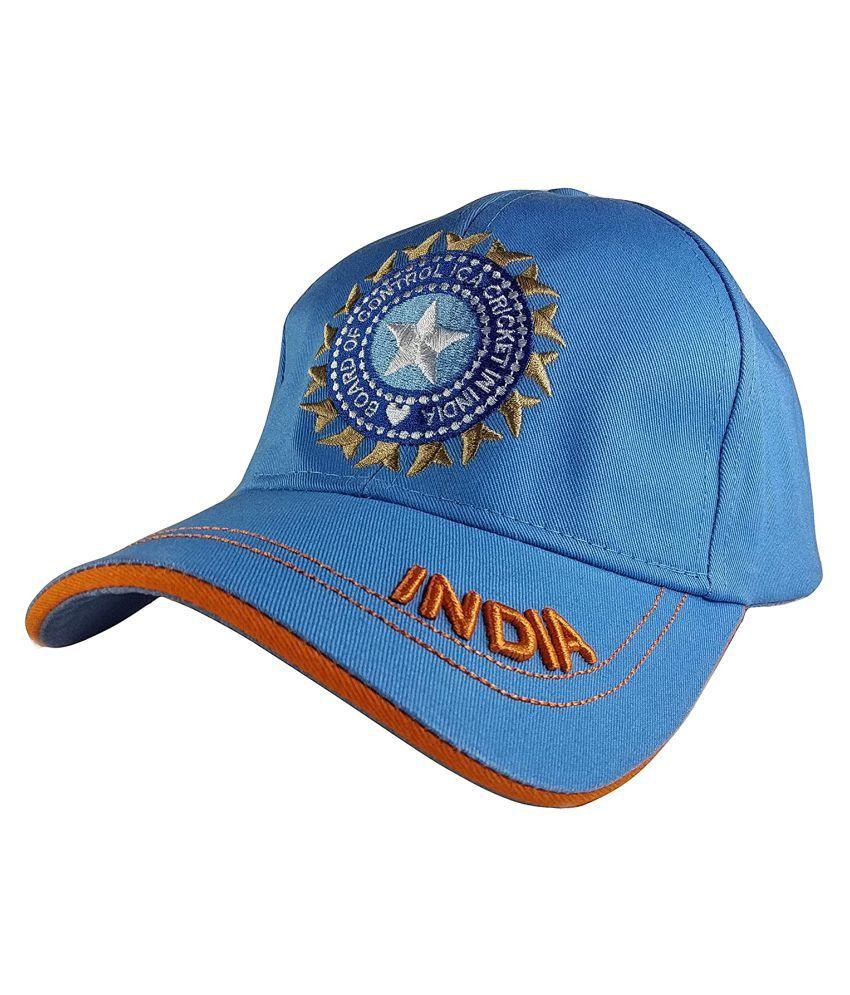 TyranT Men's Cotton Military ODI Test Ipl Indian Cricket Adjustable Army Cap (Blue, Free Size)