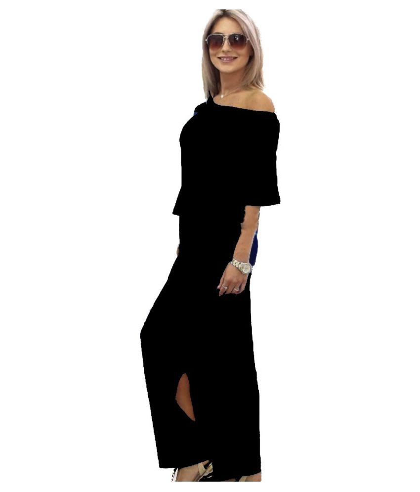Maze Runner Viscose Black Side Slit Dress
