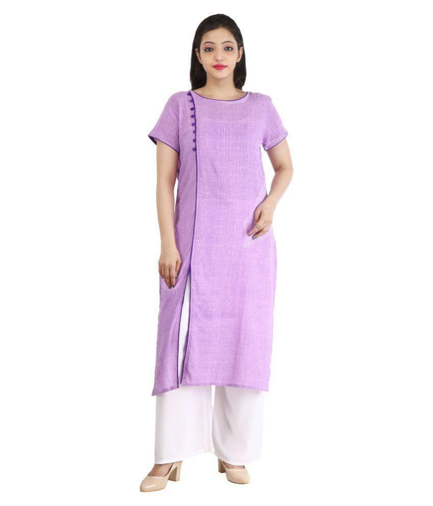 RS Collection Purple Cotton Straight Kurti