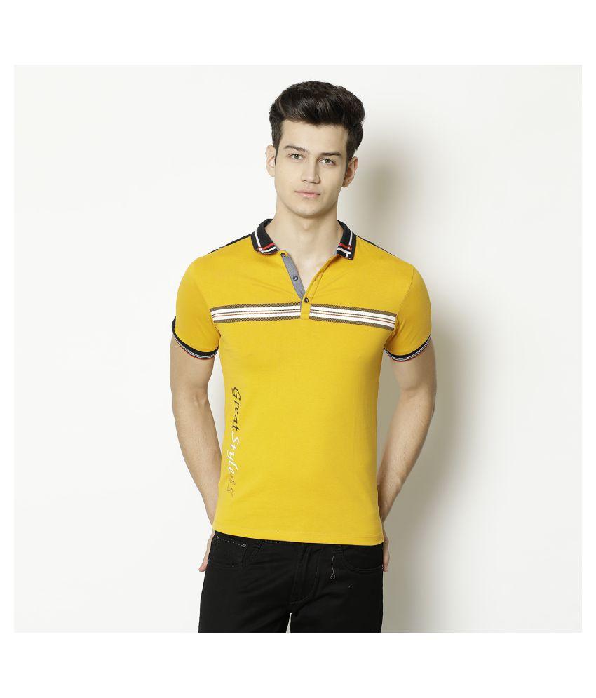 V2 Cotton Viscose Yellow Solids T-Shirt