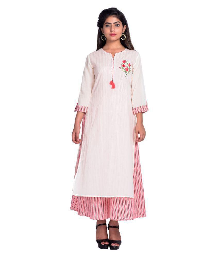 fabGlobal Cotton Beige A- line Dress