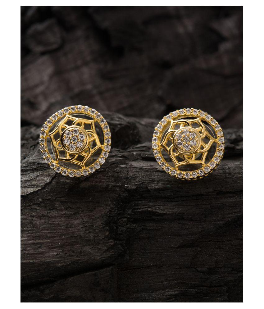 E2O Classic Silver stud Gold Plated  Earrings