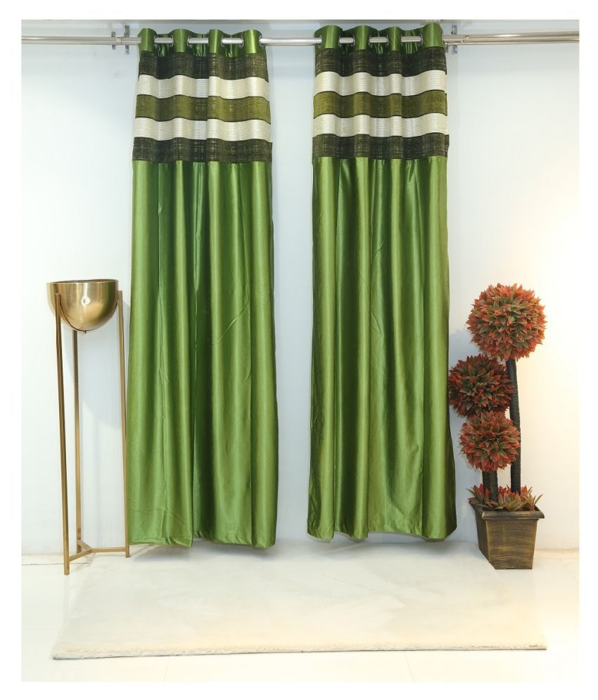 Florance Set of 2 Door Ring Rod Polyester Curtains Green